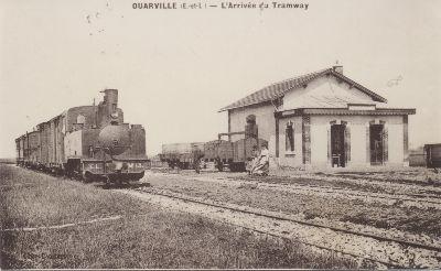 imange ancienne arrivée du tramway à Ouarville
